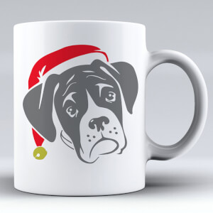 Boxer Dog with Santa Hat Ceramic Mug