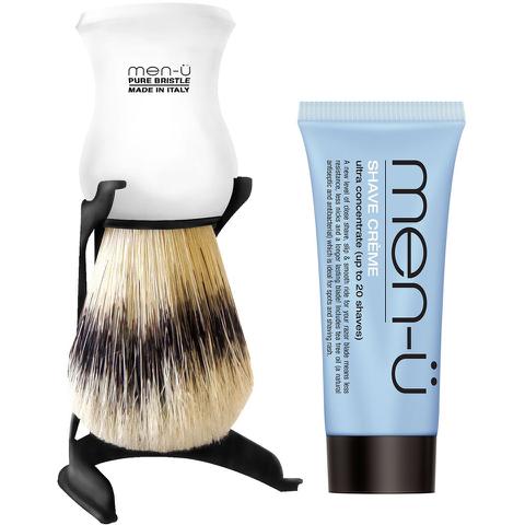 Brocha de afeitar y soporte men-ü - Blanco