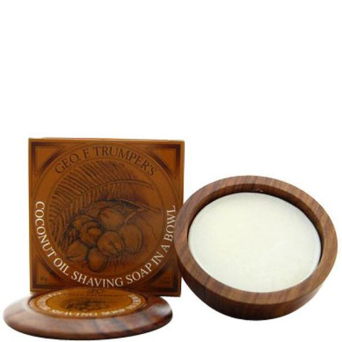 Savon rasage et bol en bois Geo F. Trumper - Coco (peau sensible/sèche) (80g)