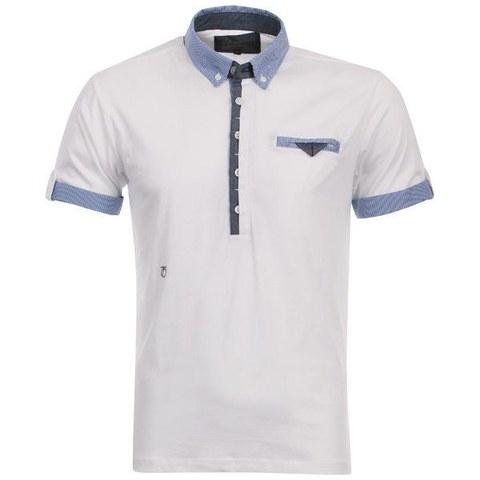 Peter Werth Men's Split Placket Polo Shirt - White