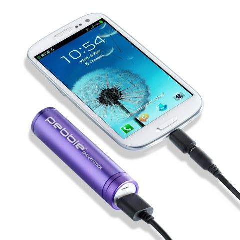 Veho Pebble Smartstick Emergency Portable Battery Back Up Power - Purple (2200mAh)