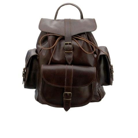 Grafea Show Business Medium Leather Rucksack - Brown