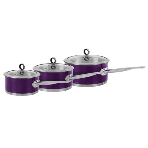 Morphy Richards 46393 3 Piece Saucepan Set - Plum - 16/18/20cm