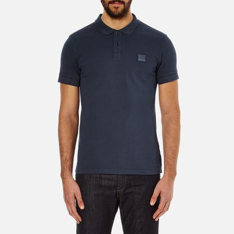 BOSS Orange Men's Pascha Slim Block Branded Polo Shirt - Navy