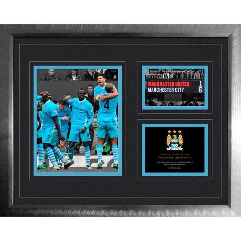 Manchester City 6-1 Vs Man Utd - High End Framed Photo - 16