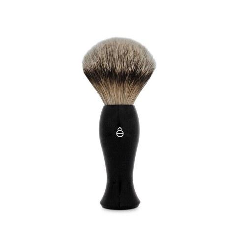 eShave Silvertip Badger Hair Shaving Brush Long Handle - Black