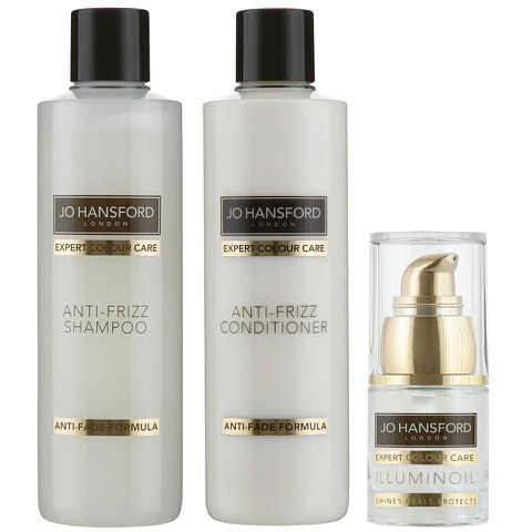 Shampoing, après-shampoing anti-frisottis (250ml) et Illuminoil mini (15ml) Jo Hansford Expert Colour Care