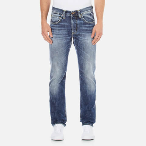 Edwin Men's ED-55 Break Used Relaxed Tapered Jeans - Dark Blue