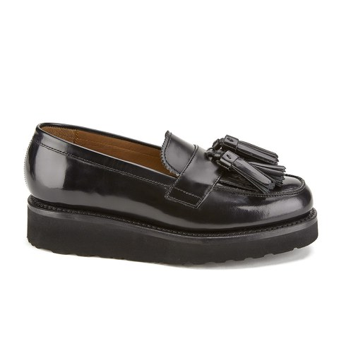 Grenson Women's Clara V Leather Tassle Loafers - Black Hi Shine