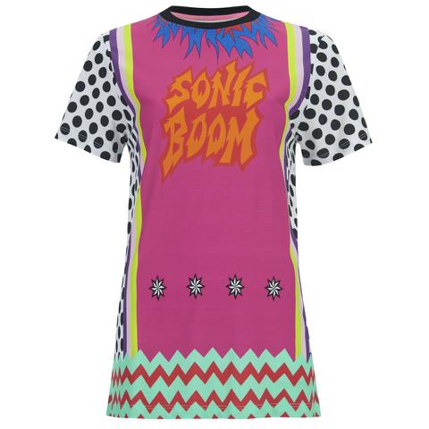 House of Holland Women's Viscose/Lycra Flame Print T-Shirt - Multi Viscose