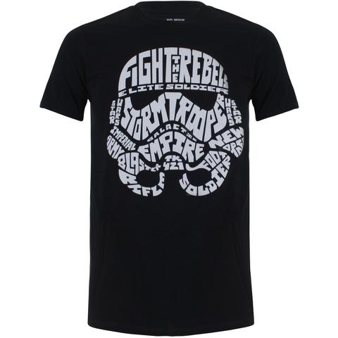 Star Wars Men's Stormtrooper Text Head T-Shirt - Black