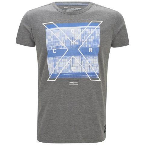 Jack & Jones Men's Square Short Sleeve Crew Neck T-Shirt - Grey Melange