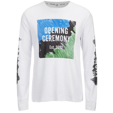 Opening Ceremony Men's Marker Logo Long Sleeve T-Shirt - White/Multi