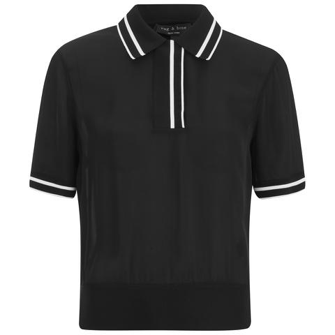 rag & bone Women's Dana Polo Shirt - Black