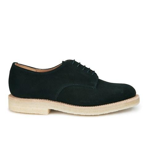 YMC Women's Solovair Suede Crepe Sole Lace Up Derby Shoes - Black Suede