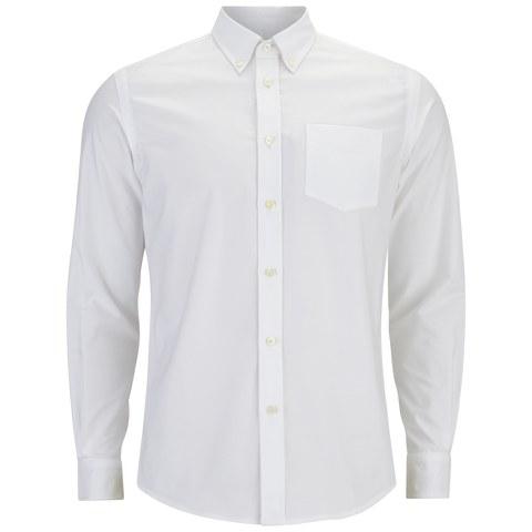 Tripl Stitched Men's Oxford Long Sleeve Shirt - White
