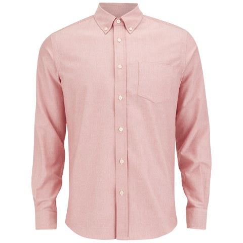 Tripl Stitched Men's Oxford Long Sleeve Shirt - Rose