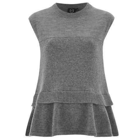 McQ Alexander McQueen Women's Contrast Basic Top - Grey Melange