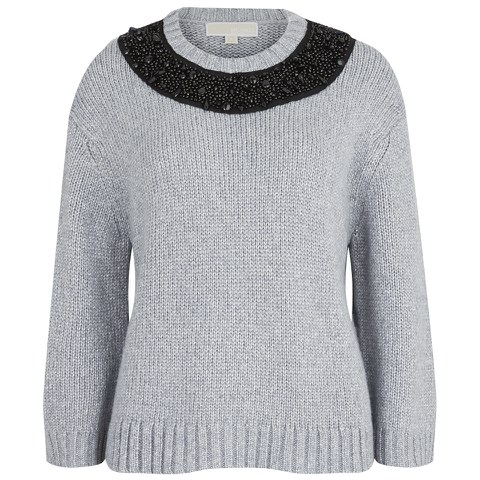 MICHAEL MICHAEL KORS Women's Beaded Neck Boxy Sweatshirt - Pearl Heather