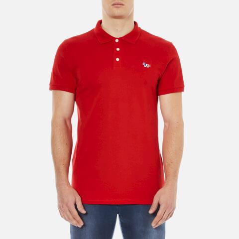 Maison Kitsuné Men's Tricolor Patch Polo Shirt - Red