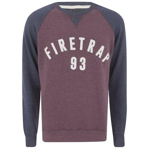 Firetrap Men's Rumsey Crew Neck Raglan Sweatshirt - Burgundy