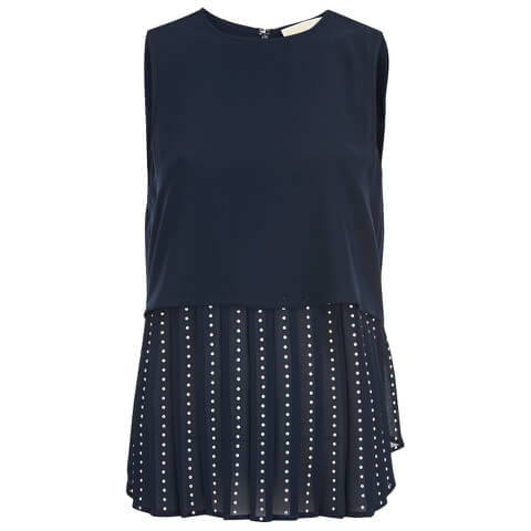 MICHAEL MICHAEL KORS Women's Embellished Pleated Top - New Navy - L/UK 12