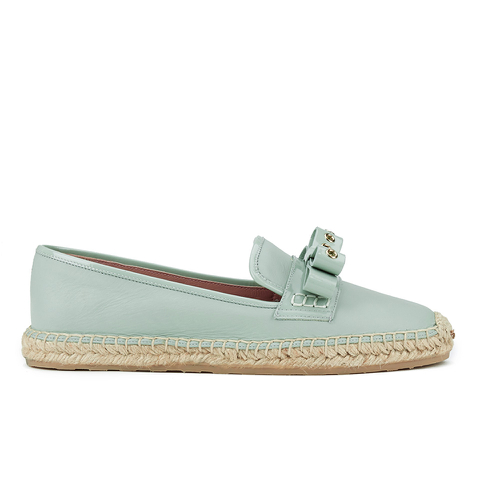 REDValentino Women's Eyelet Bow Leather Espadrilles - Mint