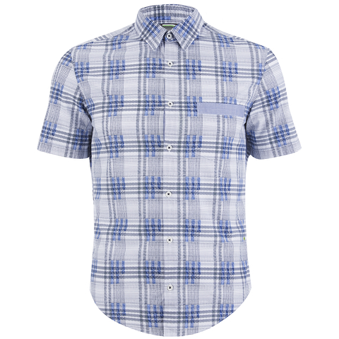 BOSS Green Men's Bicron Check Shirt - Medium Blue