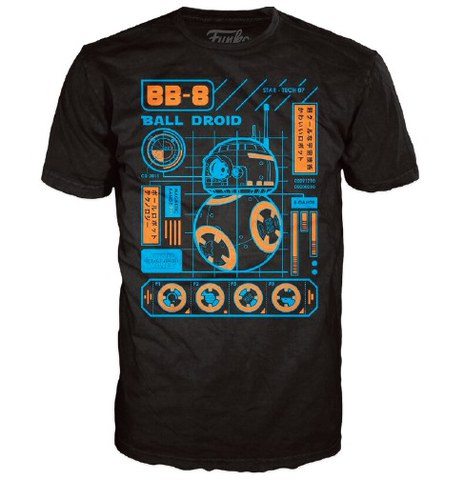 Star Wars The Force Awakens BB-8 Blueprint Pop! T-Shirt - Black