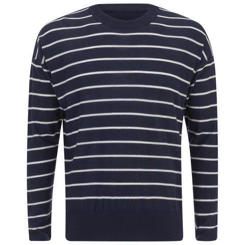 AMI Men's Oversized Crew Neck Sweatshirt - Navy/White
