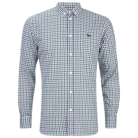 Maison Kitsuné Men's Checked Long Sleeve Shirt - Green Check