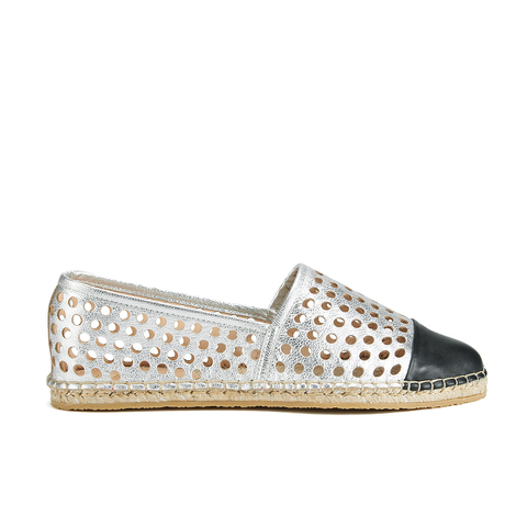 Loeffler Randall Women's Mara Perforated Espadrilles - Silver/Black