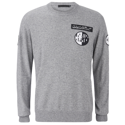 Alexander Wang Men's Crew Neck Sweatshirt With Barcode Patches - Heather Grey