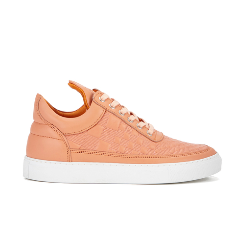 Filling Pieces Women's Stripe Quilted Low Top Leather Trainers - Orange