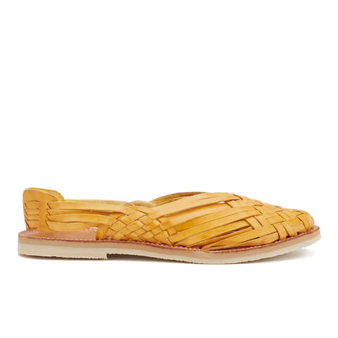 Chamula Women's Maria Sling Back Leather Sandals - Yellow