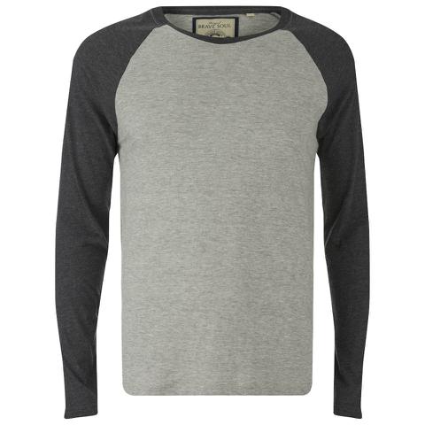 Brave Soul Men's Osbourne Raglan Long Sleeve Top - Light Grey Marl