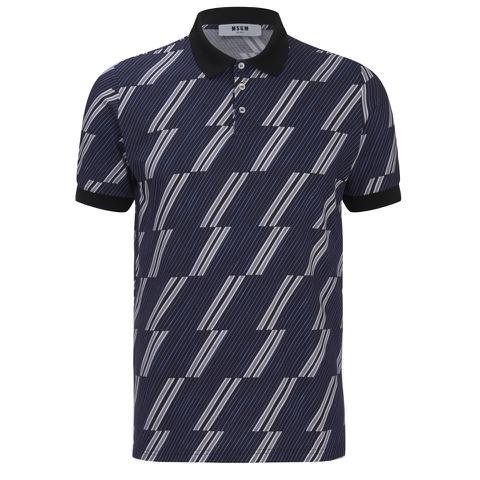 MSGM Men's Print Top Polo Shirt - Blue