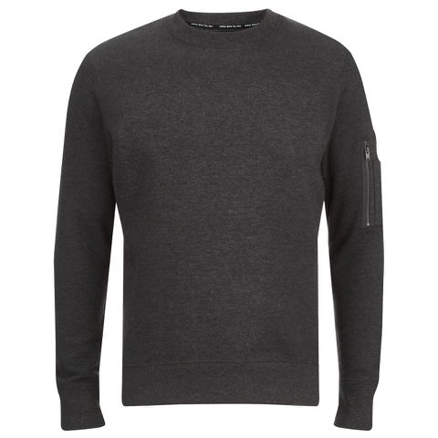 Brave Soul Men's Jacob Zip Sleeved Sweatshirt - Charcoal
