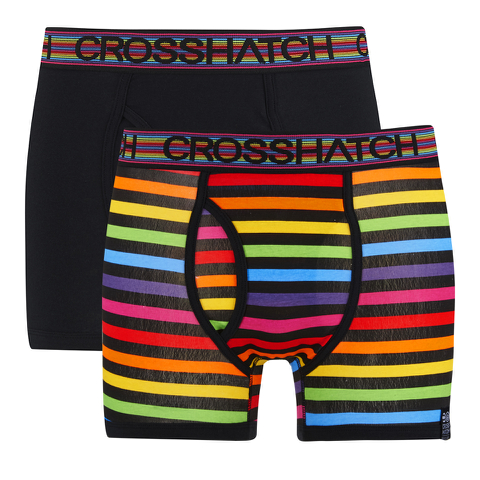 Crosshatch Men's Refracto 2-Pack Boxers - Multi/Black