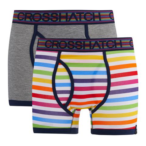 Crosshatch Men's Refracto 2-Pack Boxers - Multi/Grey