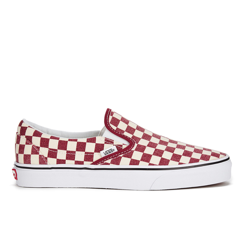 Vans Men's Classic Slip-on Checkerboard Trainers - Rhubarb/White