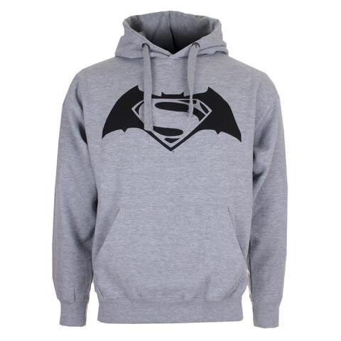 DC Comics Men's Batman v Superman Logo Hoody - Grey