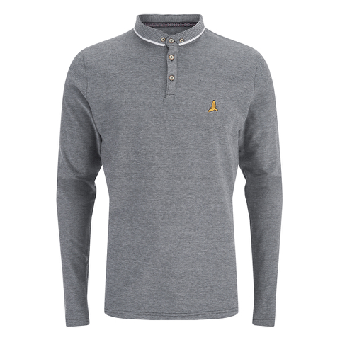 Brave Soul Men's Stage Long Sleeve Polo Shirt - Black/White