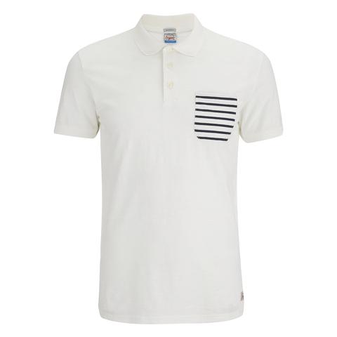 Jack & Jones Men's Originals Extra Stripe Pocket Polo Shirt - White/Navy