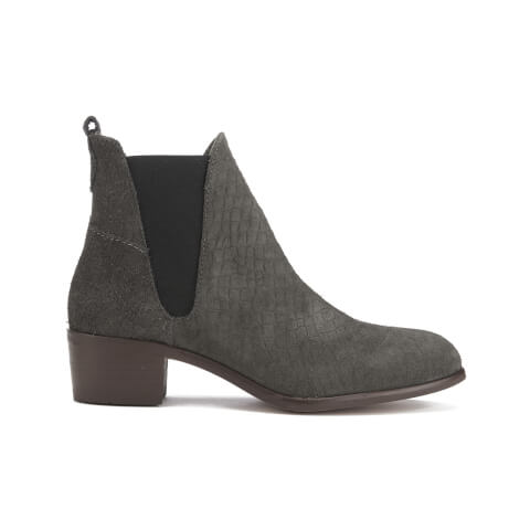 H Shoes by Hudson Women's Compound Snake Suede Heeled Chelsea Boots - Charcoal