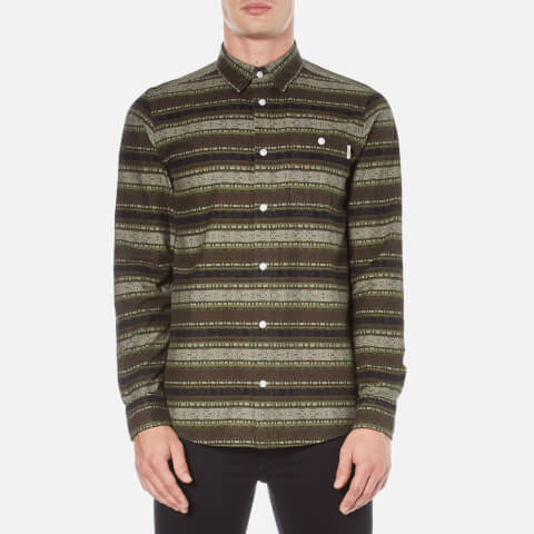 Carhartt Men's Long Sleeve Printed Shirt - Green Stone Wash