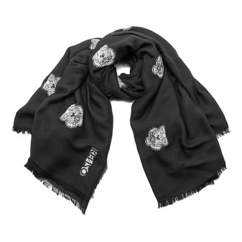 KENZO Women's High End Icons Tiger Heads Fil Coupe Scarf - Black