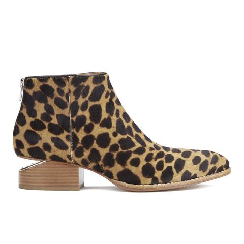 Alexander Wang Women's Kori Leopard Printed Haircalf Ankle Boots - Black/Natural