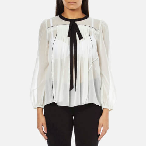 Marc Jacobs Women's Peasant Blouse with Tie - White