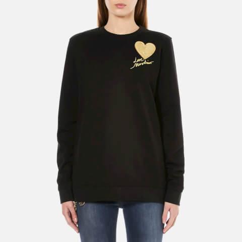 Love Moschino Women's Sequin Heart Sweatshirt - Black